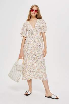 Topshop TALL Ditsy Cut-Out Midi Dress