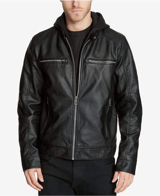 GUESS Men Faux-Leather Detachable-Hood Motorcycle Jacket
