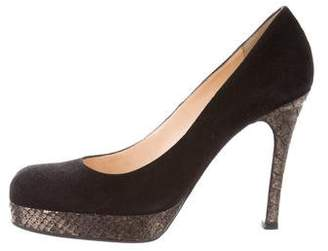 Christian Louboutin Snakeskin-Trimmed Suede Pumps