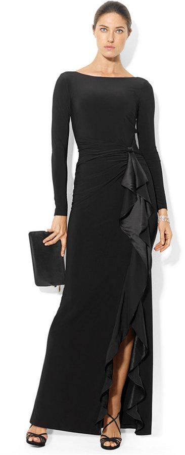 Lauren Ralph Lauren Long-Sleeve Ruffled Silk Gown