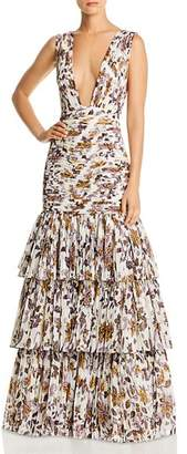 Fame & Partners Dahlia Floral Plunge Gown
