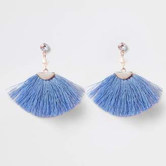 River Island Girls Blue tassel fan clip on earrings