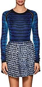Proenza Schouler Women's Abstract-Pattern Jacquard-Knit Silk Sweater-Blue