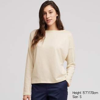 Uniqlo WOMEN Stretch Slub Jersey Boat Neck Long Sleeve T-shirt