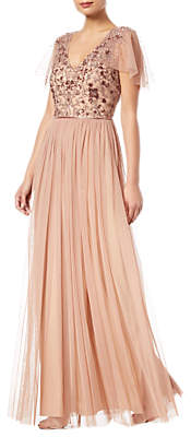 Adrianna Papell Long Beaded Dress, Rose Gold
