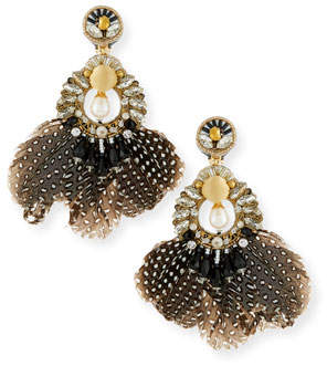 Ranjana Khan Carambola Feather Clip-On Earrings