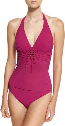 Gottex Jezebel Halter Tankini Swim Top, Wine $89 thestylecure.com