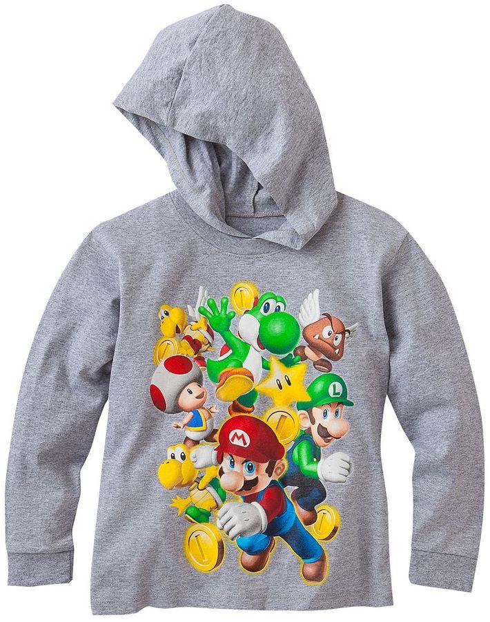 Nintendo super mario team mario hooded tee - boys 4-7