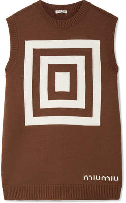 Miu Miu Intarsia Wool Top - Chocolate