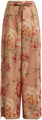 Zimmermann Corsair Tie floral-print cotton trousers