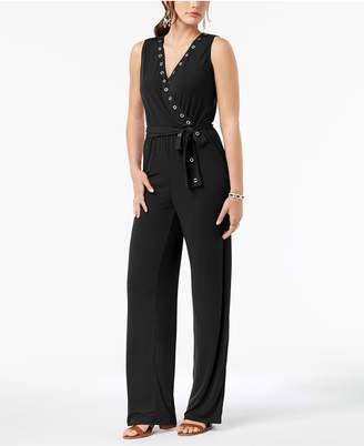 NY Collection Petite Grommet-Trim Belted Surplice Jumpsuit