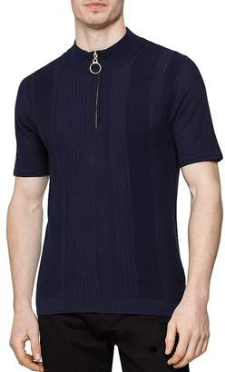 Reiss Rathie Textured Slim Fit Half-Zip Shirt