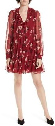 Kate Spade camelia silk chiffon minidress