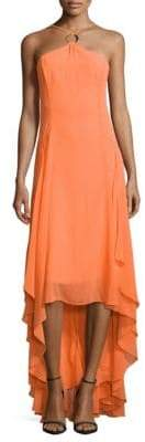Halston Halter High-Low Dress