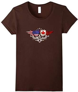 Canadian American Flag T Shirt. Canada National Flag Shirt