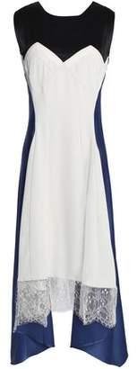 Koché Lace-Trimmed Color-Block Crepe And Silk-Satin Midi Dress