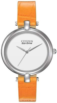 Citizen Women's Eco-Drive Silhouette Quartz Orange Leather Strap Watch, 34mm