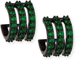 Lana Electric 14K Black Gold Huggie Earrings with Green Tsavorite