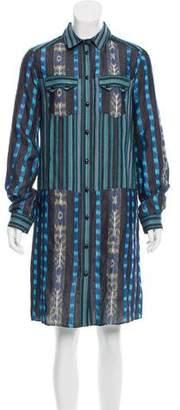 Proenza Schouler Long Sleeve Ikat Dress