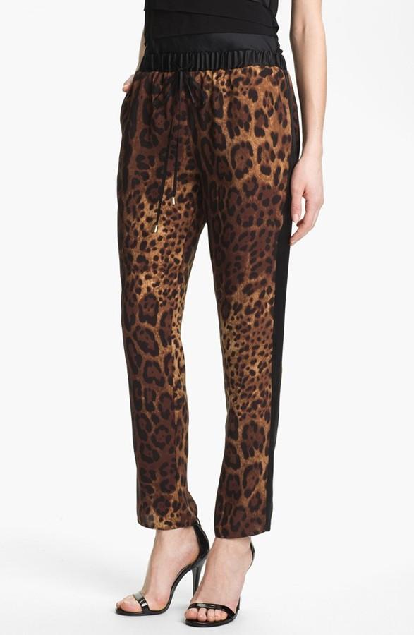 Vince Camuto Print Drawstring Pants Womens Earth Size Large Regular Large Regular