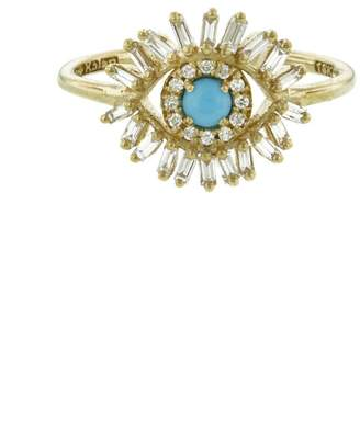 Suzanne Kalan Small Diamond and Turquoise Evil Eye Ring - Yellow Gold