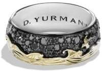 David Yurman Davidyurman Waves Band Ring With Black Diamonds And 18K Gold
