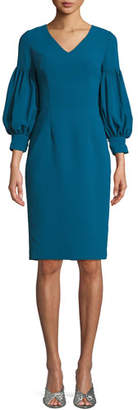 David Meister V-Neck Dress w/ Bubble Sleeves