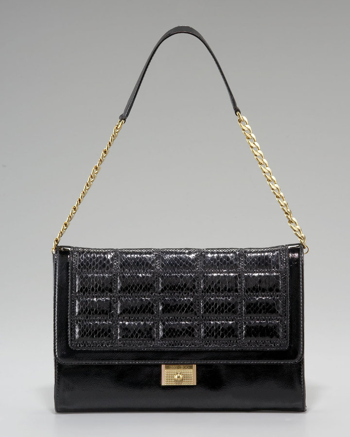 Jimmy Choo Patent and Quilted Snakeskin Bag