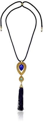 Ben-Amun Jewelry St. Tropez Adjustable Tassel Turquoise Gold Pendant Necklace