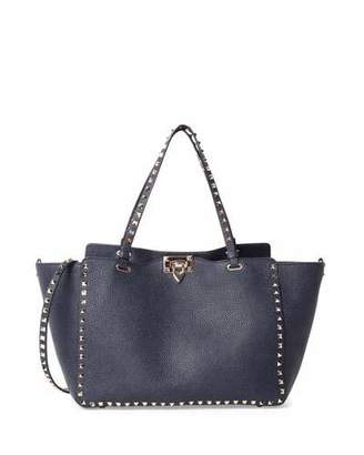 Valentino Rockstud Medium Grained Tote Bag, Denim Blue $2,495 thestylecure.com