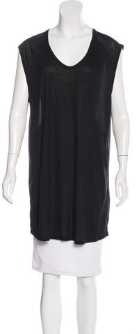 Alexander Wang T by Alexander Wang Silk-Trimmed Sleeveless Top