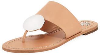 Tory Burch Patos Disk Leather Flat Slide Sandal