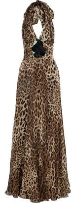 Dolce & Gabbana Floral-Appliquéd Gathered Leopard-Print Silk-Chiffon Halterneck Gown
