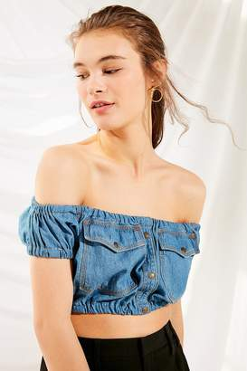 Urban Renewal Vintage Recycled Off-The-Shoulder Cropped Denim Top