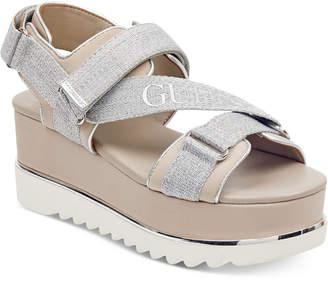 GUESS Women's Laureta Flatform Logo Sport Sandals Women's Shoes