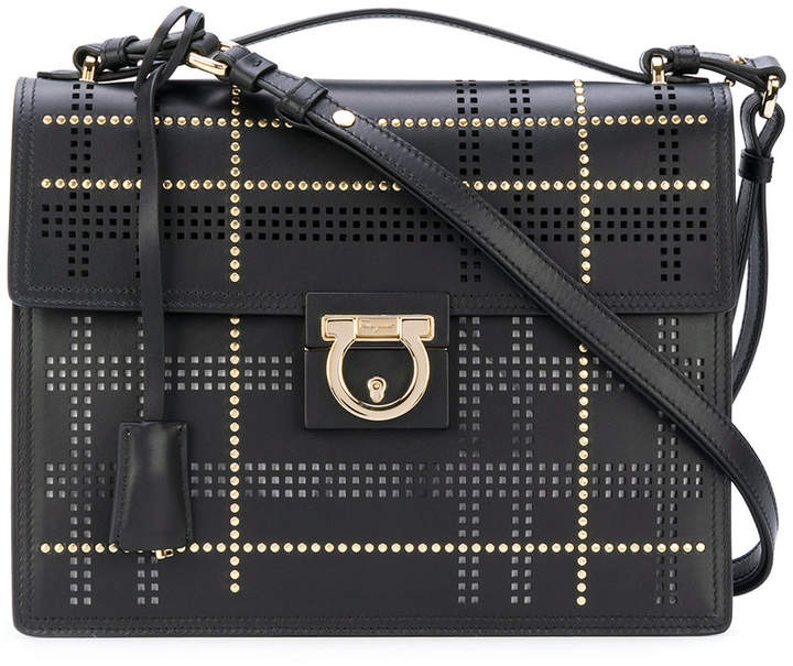 Salvatore Ferragamo Gancio studded shoulder bag