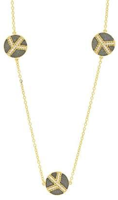 Freida Rothman 14K Yellow Gold & Black Rhodium Plated Pave CZ Disc Station Necklace