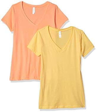Blend of America Clementine Apparel Women's 2 Pack Short Sleeve T Shirts Easy Tag V Neck Soft Cotton Undershirt tees (1540)
