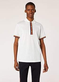 05a3f400 Men's Slim-Fit White Cotton-Pique Polo Shirt With 'Artist Stripe' Details