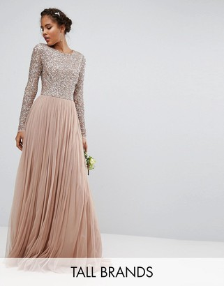 Maya Tall Long Sleeve Sequin Top Maxi Tulle Dress $136 thestylecure.com