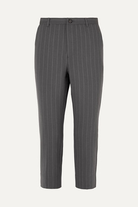 Ganni Garvey Pinstriped Stretch-cady Straight-leg Pants - Light gray