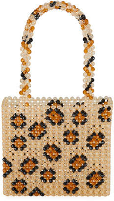 Susan Alexandra Leopard-Print Beaded Top Handle Bag