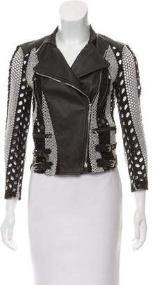 Yigal Azrouel Leather-Trimmed Eyelet Jacket