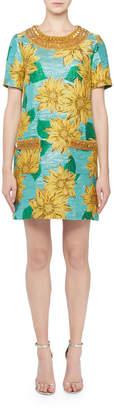 Andrew Gn Jeweled-Neck Short-Sleeve Sunflower Jacquard Dress