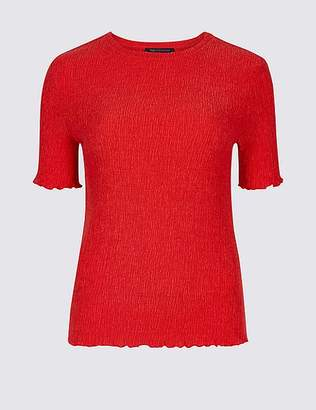Marks and Spencer Textured Round Neck Short Sleeve Top
