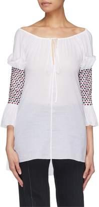 Rosie Assoulin Swarovski crystal embellished smocked sleeve top