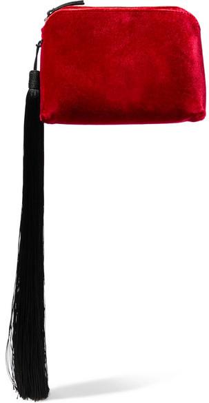 The Row - Wristlet Mini Tasseled Velvet Clutch - Red