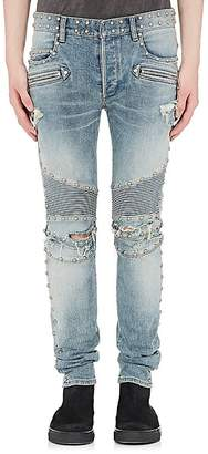 Balmain Men's Studded Distressed Skinny Moto Jeans