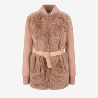 Bally Belted Shearling Cardigan Pink, Women's lamb shearling cardigan in cipria