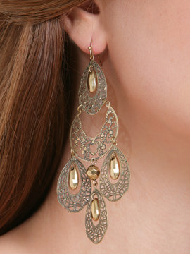 Filigree Beaded Chandelier Earrings